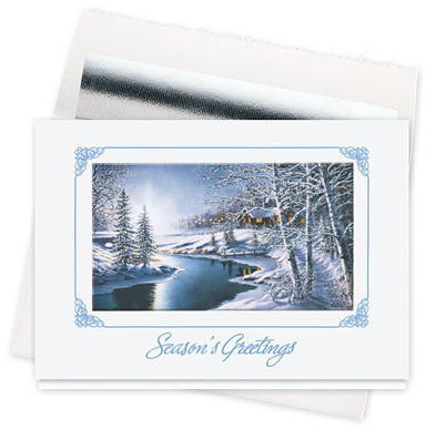 Frosty Night Seasons Greeting Card