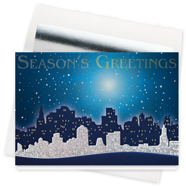 Glittering City Greetings Holiday Card